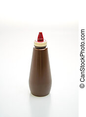 barbecue sauce bottle on white background