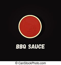 Barbecue sauce. Detailed Vector Icon. Top view. - Barbecue ...