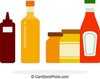 Barbecue sauce in a dispenser, sunflower oil, ketchup and mustard and honey in jars flat isolated