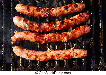 Barbecue sausages in a row