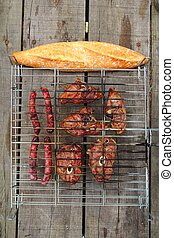 barbecue sausages lamb meat grill bread