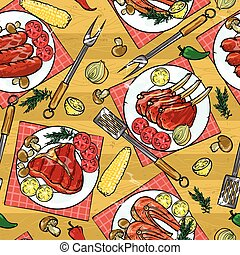 Barbecue seamless pattern,