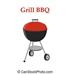 Barbecue set - grill station, closed cap. Picnic vector illustration