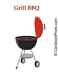 Barbecue set - grill station, opened cap. Picnic vector illustration