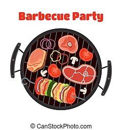 Barbecue set - grill station, sausage, fried meat, shashlik. Vector picnic
