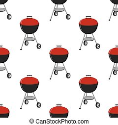 Barbecue set - grill station seamless pattern. Picnic vector illustration