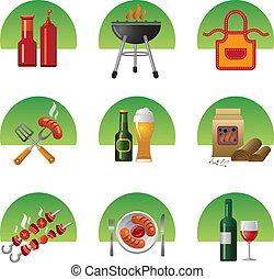 barbecue, set, icona
