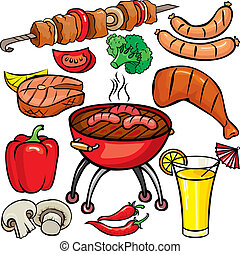 barbecue, set, pictogram