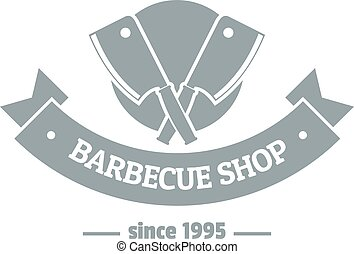 Barbecue shop logo, simple gray style