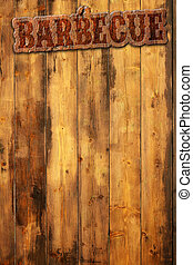 barbecue signboard - barbecue label nailed to a wooden...