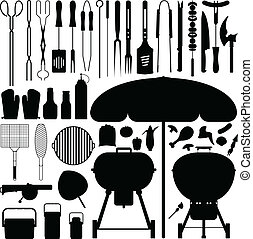 barbecue, silhuet, vektor, sæt, bbq.