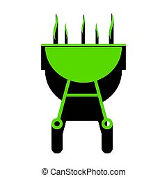 Barbecue simple sign. Vector. Green 3d icon with black side on w