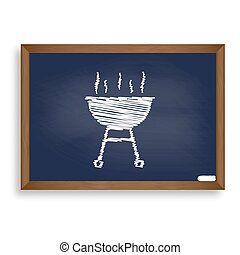 Barbecue simple sign. White chalk icon on blue school board with