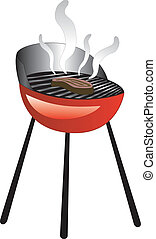 Barbecue Smoke Grill with Juicy Meat or Steak Grilling.