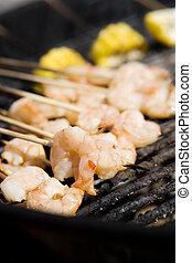 barbecue, spiedi gambero