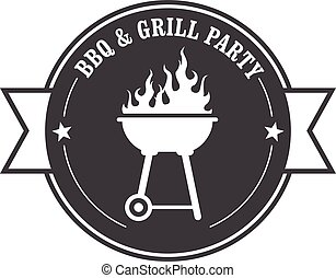 Barbecue stamp - bbq and grill
