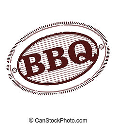 Barbecue stamp - Barbecue rubber stamp in one color on a...