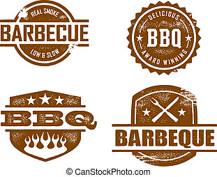 Barbecue Stamps - A selection of vintage style distressed...