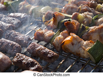 grill - barbecue sticks with meat and vegetables on grill...
