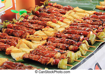 barbecue sticks with meat and vegetables
