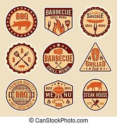 barbecue, stile, emblemi, vendemmia