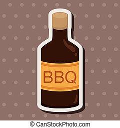 barbecue, tema, elementi, salsa, apparecchiatura