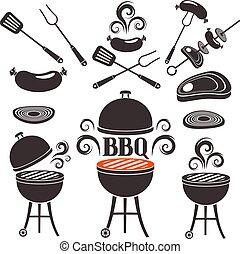 barbecue, tema, sätta, elementara