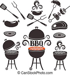 barbecue, thème, ensemble, éléments