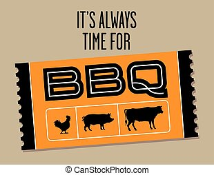 Barbecue Ticket vector design with cow, pig and chicken.