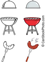 Barbecue Tools.Collection - Barbecue Tools Cartoon...