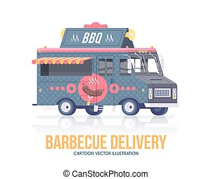Barbecue truck. Vector barbecue wagon. Delivery service. Street cuisine. Flat illustration.