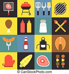 barbecue, vecteur, ensemble, icônes