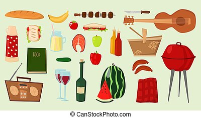 Barbecue vector icons food products BBQ grilling kitchen outdoor family time cuisine illustration party products grilling kitchen summer picnic food day