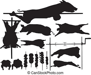 Barbecue vector silhouettes - Barbecue (BBQ) meat vector...