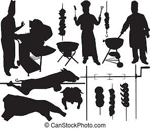 Barbecue vector silhouettes - BBQ (barbecue), chef, spit, ...