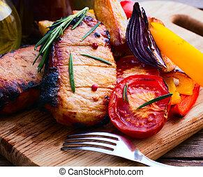 barbecue, verdura, carne, cibo.