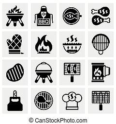 barbecue, vettore, set, icona