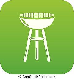 barbecue, vettore, verde, icona