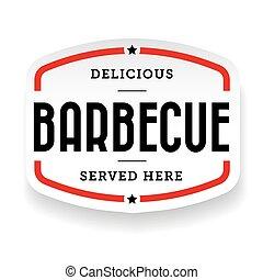 Barbecue vintage label sign