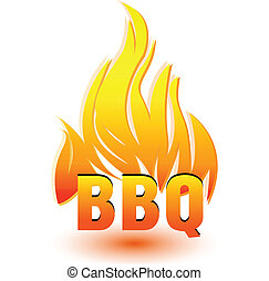 barbecue, warme, vector, logo