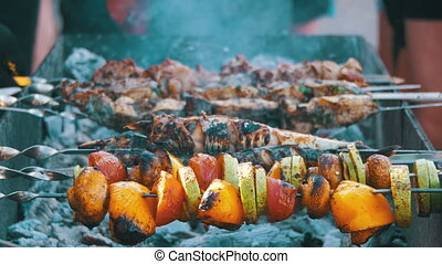 Barbecue with Delicious Grilled Meat and Vegetables Cooked ...
