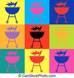 Barbecue with fire icon