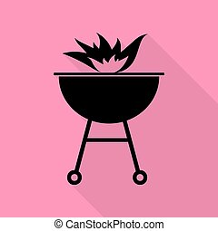 Barbecue with fire sign. Black icon with flat style shadow path on pink background.