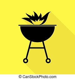 Barbecue with fire sign. Black icon with flat style shadow path on yellow background.