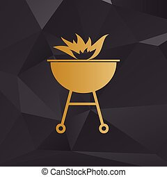 Barbecue with fire sign. Golden style on background with polygons.
