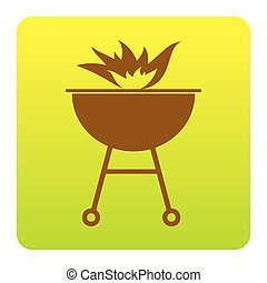 Barbecue with fire sign. Vector. Brown icon at green-yellow gradient square with rounded corners on white background. Isolated.