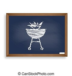 Barbecue with fire sign. White chalk icon on blue school board w