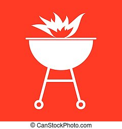 Barbecue with fire sign