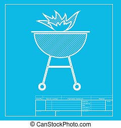 Barbecue with fire sign. White section of icon on blueprint template.