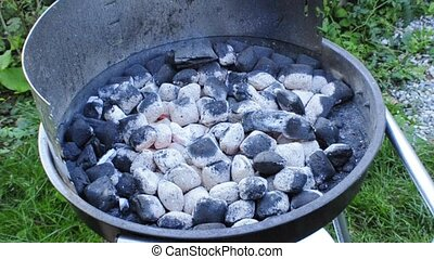 barbecue with glowing charcoal